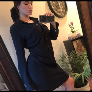 Gap Button Up Dress, Navy Blue, Light Blue Texture